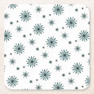 Dessous-de-verre Carré En Papier Étoiles givrées de flocon de neige