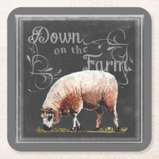 Dessous-de-verre Carré En Papier Ferme   de tableau vers le bas sur les moutons de