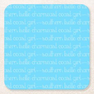 Dessous-de-verre Carré En Papier Fille de Côte Est avec le charme du sud de belle