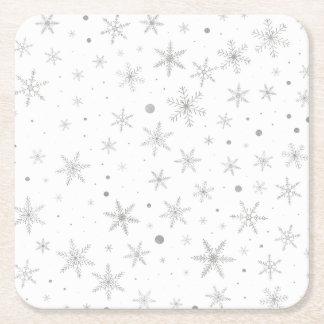 Dessous-de-verre Carré En Papier Flocon de neige de scintillement - gris et Blanc