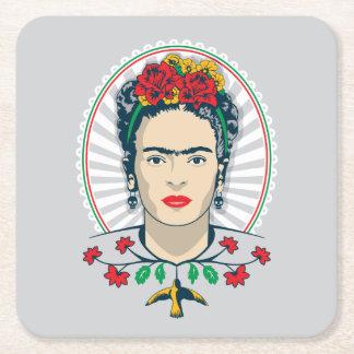 Dessous-de-verre Carré En Papier Floral vintage de Frida Kahlo |