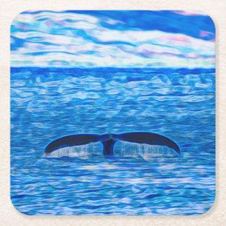 Dessous-de-verre Carré En Papier Fractale de queue de baleine bleue et rose