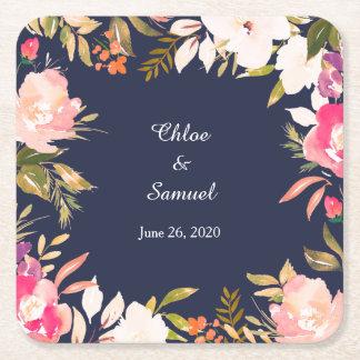Dessous-de-verre Carré En Papier Frontière florale rose de corail sur le mariage de
