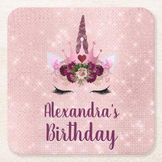 Dessous-de-verre Carré En Papier Girly rougissent la fête d'anniversaire rose de