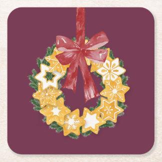 Dessous-de-verre Carré En Papier Guirlande de biscuit de Noël avec l'arrière - plan