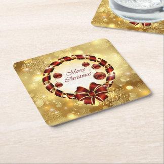 Dessous-de-verre Carré En Papier Guirlande d'or et rouge de Noël avec l'arc et le