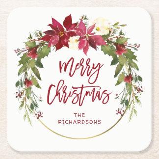 Dessous-de-verre Carré En Papier Guirlande florale d'aquarelle de Joyeux Noël avec