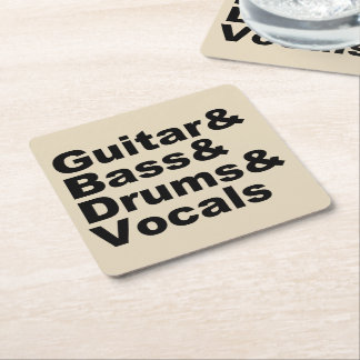 Dessous-de-verre Carré En Papier Guitar&Bass&Drums&Vocals (noir)