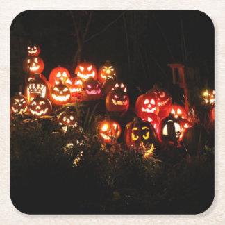 Dessous-de-verre Carré En Papier Halloween Jack-o'-lantern recueillant des dessous