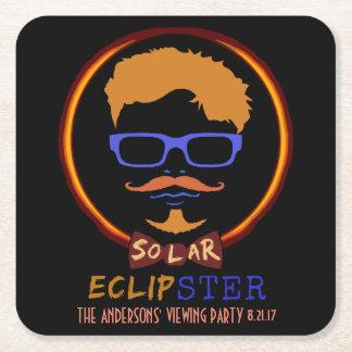 Dessous-de-verre Carré En Papier Hippie drôle solaire total d'éclipse le 21 août
