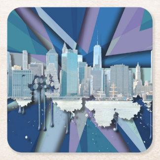 Dessous-de-verre Carré En Papier Horizon | 3D bleu de New York City