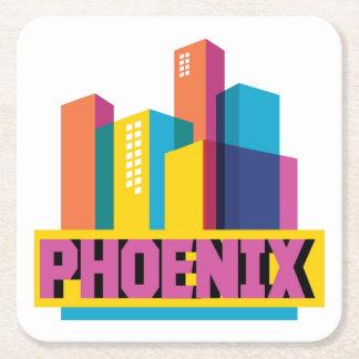 Dessous-de-verre Carré En Papier Horizon au néon de Phoenix, Arizona |