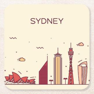 Dessous-de-verre Carré En Papier Horizon de griffonnage de Sydney, Australie |