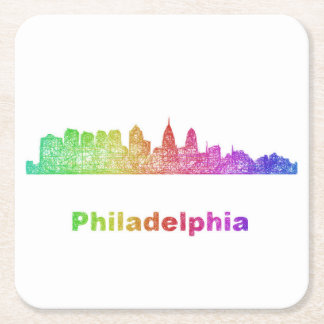 Dessous-de-verre Carré En Papier Horizon de Philadelphie d'arc-en-ciel