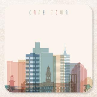 Dessous-de-verre Carré En Papier Horizon de ville de Cape Town, Afrique |