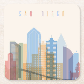 Dessous-de-verre Carré En Papier Horizon de ville de San Diego