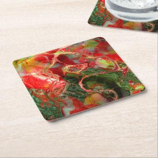 Dessous-de-verre Carré En Papier imaginaire de fleur de fractale
