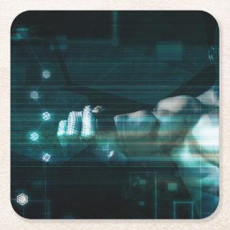 Dessous-de-verre Carré En Papier Interface futuriste avec l'utilisateur androïde de