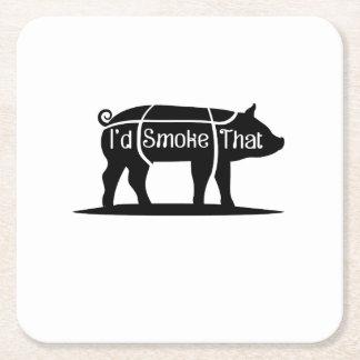 Dessous-de-verre Carré En Papier Je fumerais ce barbecue de BBQ de porc de porc