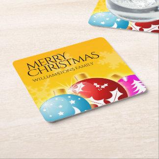 Dessous-de-verre Carré En Papier Joyeux Noël avec les ornements de fête de vacances