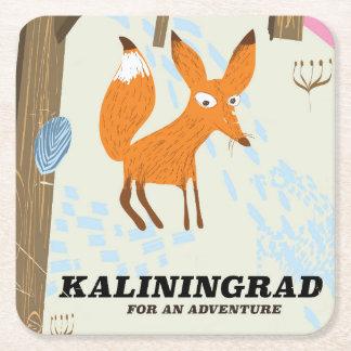 """Dessous-de-verre Carré En Papier Kaliningrad affiche de voyage """"pour aventure"""""""
