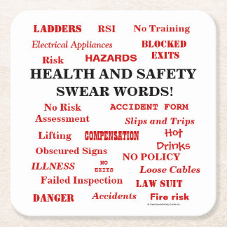 Dessous-de-verre Carré En Papier La santé et la sécurité ennuyant drôles de