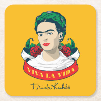 Dessous-de-verre Carré En Papier La Vida de vivats de Frida Kahlo |