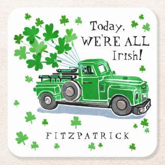 Dessous-de-verre Carré En Papier Le camion vintage de vert du jour de St Patrick