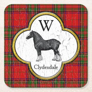 Dessous-de-verre Carré En Papier Le monogramme de plaid de Clydesdale