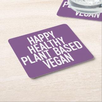 Dessous-de-verre Carré En Papier Le plante sain heureux a basé le végétalien