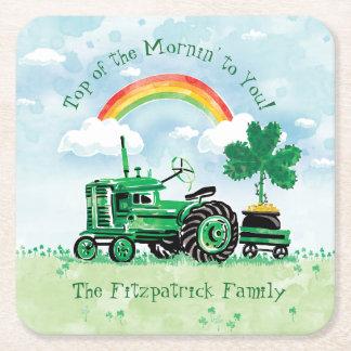 Dessous-de-verre Carré En Papier Le shamrock vert vintage de tracteur ajoutent le