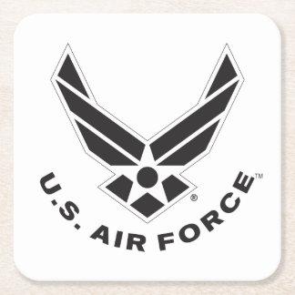 Dessous-de-verre Carré En Papier Logo de l'Armée de l'Air - noir