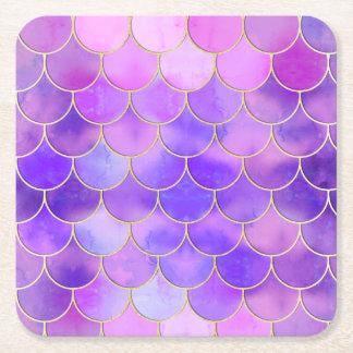 Dessous-de-verre Carré En Papier L'ultraviolet et motif d'échelle de sirène d'or
