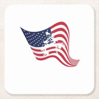 Dessous-de-verre Carré En Papier Lutte d'amour de drapeau américain luttant