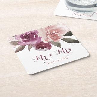 Dessous-de-verre Carré En Papier M. et Mme floraux de mariage de dentelle