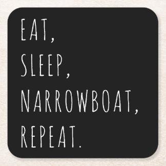 """Dessous-de-verre Carré En Papier """"Mangez, dormez, Narrowboat, répétition."""" Dessous"""