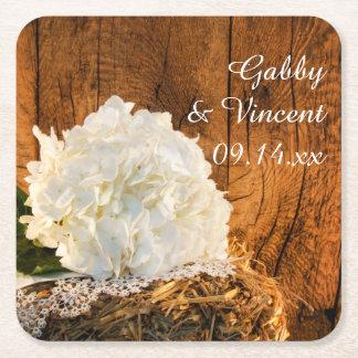 Dessous-de-verre Carré En Papier Mariage campagnard blanc d'hortensia et en bois de