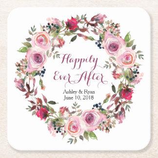 Dessous-de-verre Carré En Papier Mariage floral de guirlande de rose pourpre de