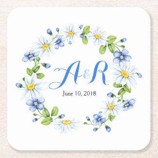 Dessous-de-verre Carré En Papier Mariage floral de marguerite blanche bleue de