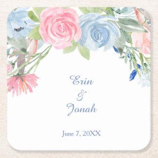 Dessous-de-verre Carré En Papier Mariage floral rose bleu d'aquarelle