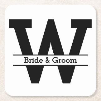 Dessous-de-verre Carré En Papier Mariage noir et blanc de monogramme de fente