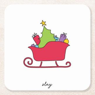 Dessous-de-verre Carré En Papier Massacrez les dessous de verre de Noël