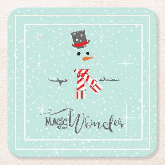 Dessous-de-verre Carré En Papier Menthe ID440 de bonhomme de neige de Noël de magie