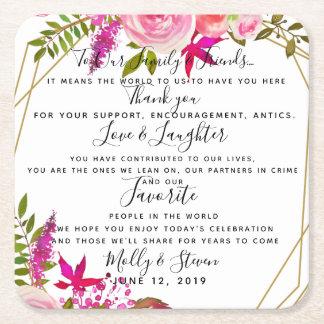 Dessous-de-verre Carré En Papier Merci de mariage de roses de partie en