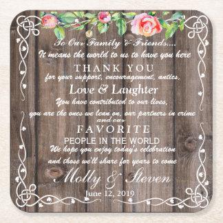 Dessous-de-verre Carré En Papier Merci de pays de partie florale rustique/mariage