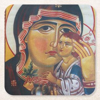 Dessous-de-verre Carré En Papier Mère Mary et art de Jésus