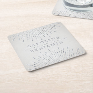 Dessous-de-verre Carré En Papier Monogramme vintage de mariage de deco argenté