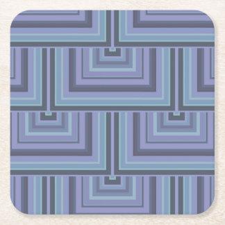 Dessous-de-verre Carré En Papier motif Bleu-gris d'échelles de carré de rayures