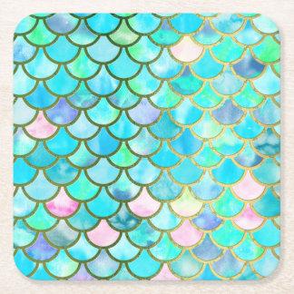 Dessous-de-verre Carré En Papier Motif bleu turquoise d'échelles de sirène