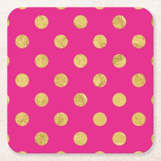 Dessous-de-verre Carré En Papier Motif de point élégant de polka de feuille d'or -